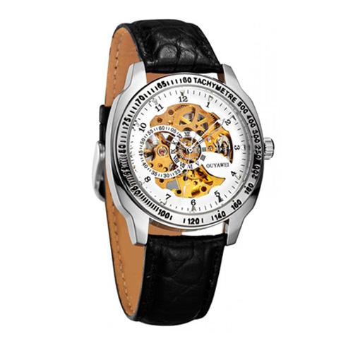 Đồng hồ nam dây da OUYAWEI OUY002 (Đen phối vàng)