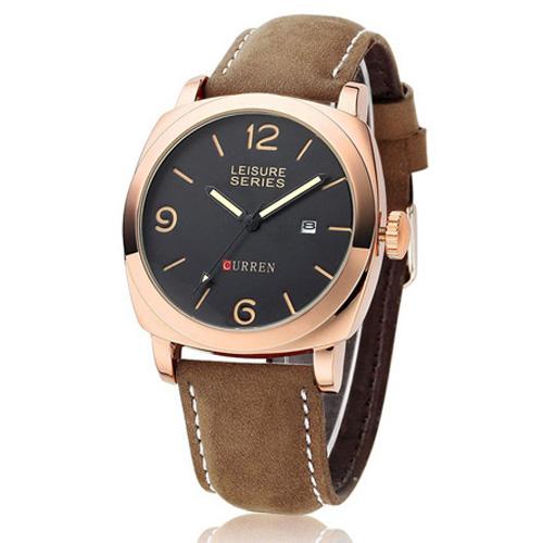 Đồng hồ nam dây da Curren CR008 (Viền Vàng)
