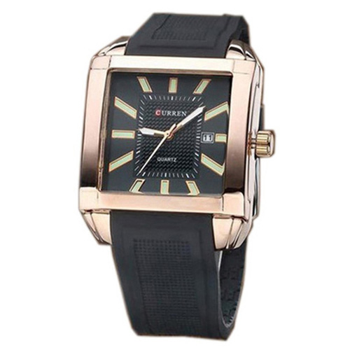 Đồng hồ nam dây da silicon CURREN CR011 (Vàng)