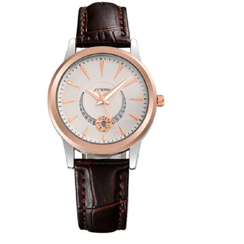 Đồng hồ nam dây da Sinobi SI024 (mặt trắng)
