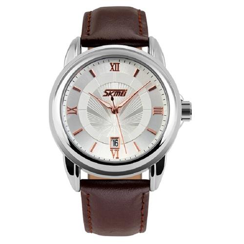 Đồng hồ nam dây da SKMEI sk044 (Nâu)